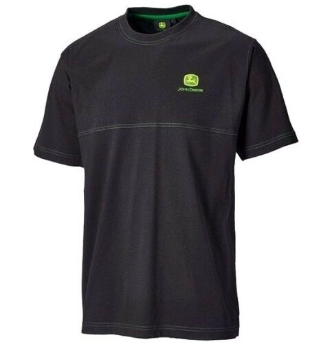 John Deere Men/'s Black T-Shirt w// Decorative Seam