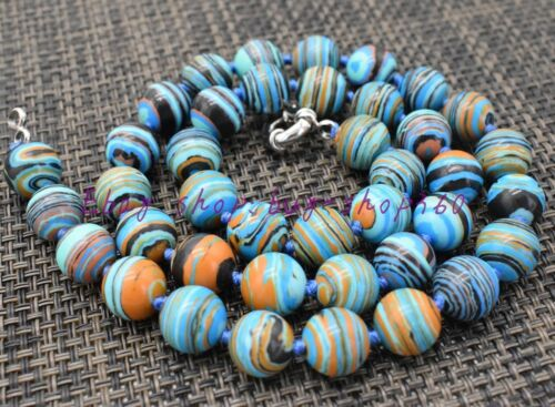 """Natural Beautiful 10 mm ronde à rayures bleu turquoise Gemstone Collier 18/"""" AAA"""