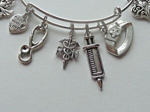 RN-NURSE-STETHOSCOPE-SYRINGE-SCISSORS-TASSEL-SILVER-CHARM-BANGLE-BRACELET