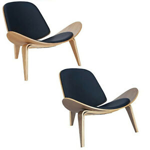 WEGNER-SHELL-STYLE-LOUNGE-CHAIR-CH07-WALNUT-OR-NATURAL-W-BLACK-PADS-MID-CENTURY