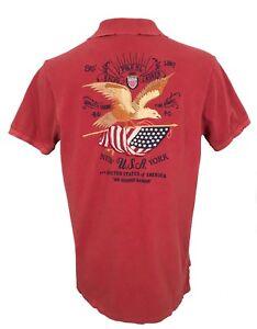 06ce6224 NEW Polo Ralph Lauren Polo Shirt! Huge Vintage Style Eagle USA Flag ...