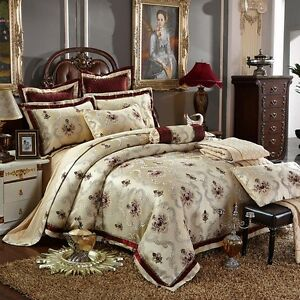 10pc Luxury Silk Burgundy Amp Beige Queen Or King Duvet