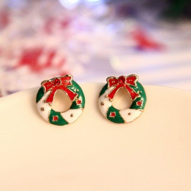 Santa Claus Rhinestone Pierced Christmas Tree Deer Earrings Ear Stud Women Gift