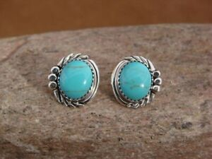 Native-American-Sterling-Silver-Turquoise-Post-Earrings-by-Delores-Cadman-Navajo