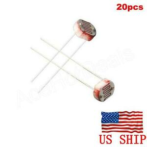 20pcs Photoresistor 5MM GL5537 LDR Photo Resistors Light-Dependent ...