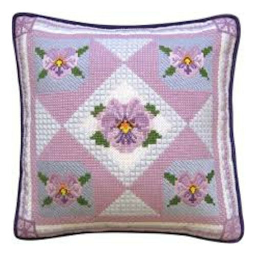 Cross Stitch and Needlepoint Kit ~ Pansy Flowers Pillow or Picture #30453