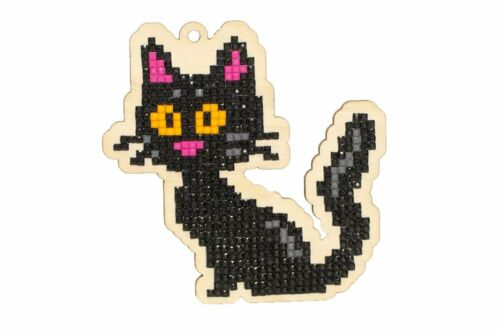 DIAMOND PAINTING PLYWOOD KIT CHARM BLACK CAT WW193