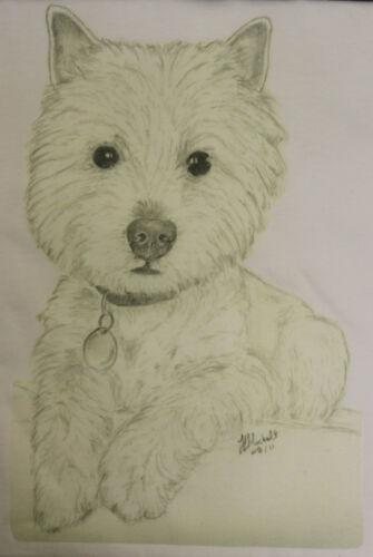 Westie West Highland Terrier T-Shirt Original drawn design sizes 3-6 mth to XXL