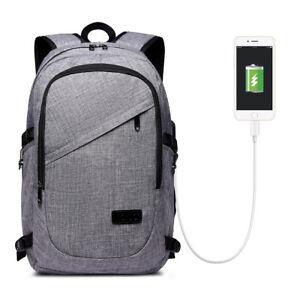 Leichter-Canvas-Laptop-Rucksack-USB-Anschluss-Rucksack-Damen-Herren-Reise-Laptop