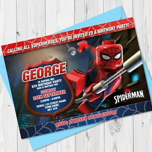 Details About Personalised Lego Spiderman Birthday Party Invitations Spiderman Party Invites