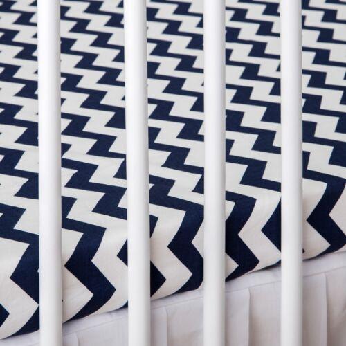 2 x Lit bébé Drap Housse Bleu Marine Chevron Blanc 60x120 cm 70x140 cm en coton pur