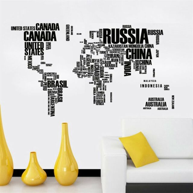 Home living room pvc wall sticker removable world map letter printed removable letter world map quote wall stickers art vinyl decal home decor mural publicscrutiny Choice Image