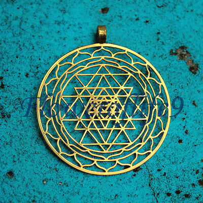 Sri Yantra pendant (1 3/4) -  Stainless Steel, TiN (gold color) coating