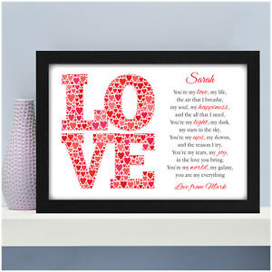 Image Is Loading Personalised Poem Gifts For Couples Her Him Wife
