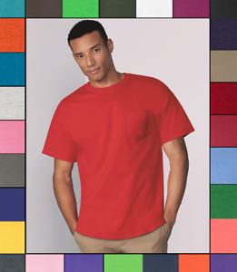 cf92b5f9a87aab Gildan Mens Pocket T Shirt Heavy Cotton Short Sleeve Blank Tee Top ...