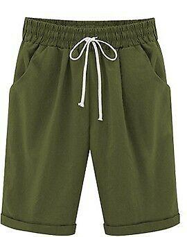 UK Women Ladies Combat Chino Cargo Shorts Knee Length Holiday Pants Summer 6-22