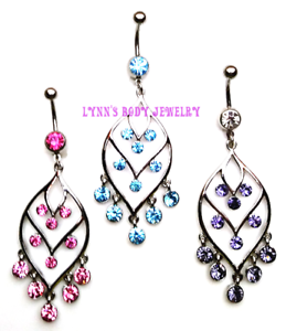 Fantaisie Feuille Chandelier Triple Tier zircon Acier chirurgical Dangle Belly Navel Ring