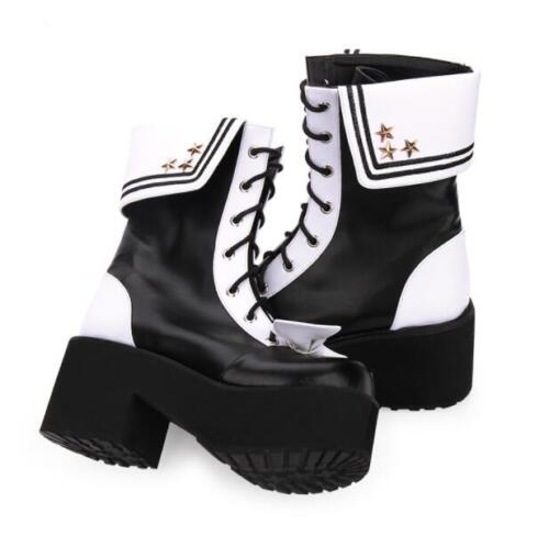 Japanese Style Womens Lolita Bowknot Kawaii Ankle Boots Muffins Platform Shoes