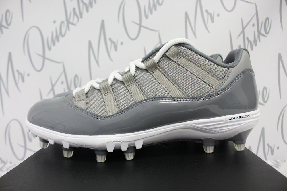 AIR JORDAN 11 RETRO XI LOW TD CLEATS SZ 9.5 COOL GREY WHITE AO1560 003