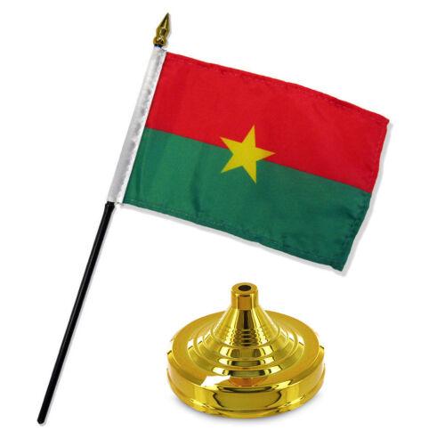 "Burkina Faso 4/""x6/"" Flag Desk Set Table Stick Gold Base"