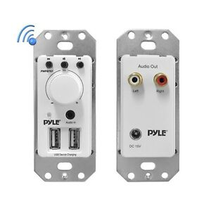 NEW Pyle PWPBT67 In-Wall Bluetooth Audio Receiver Dual USB Charger & AUX-Input