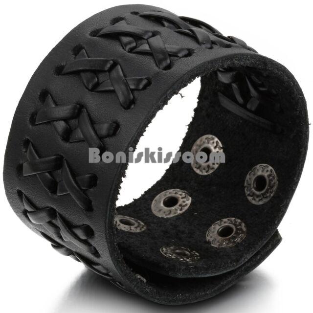 Wide Black Leather Men's Wirstband Cuff Bracelet Size Adjustable