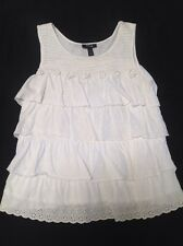 Style &  Co PXL WHITE 100% COTTON RUFFLE KNIT TUNIC TOP SO FLATTERING