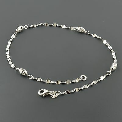 """Jewelry & Watches Fine Jewelry Systematic .925 Sterling Silver 2.4mm Oval Marine Link W/4.0mm Oval Dc Stations 10"""" Anklet"""