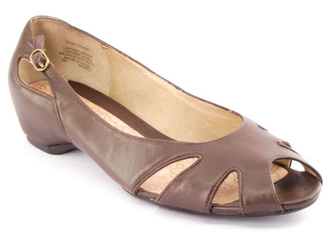 New KENNETH COLE REACTION Women Brown Leather Peep Toe Toe Peep Flat Sandal Shoe Sz 9 M 05a071