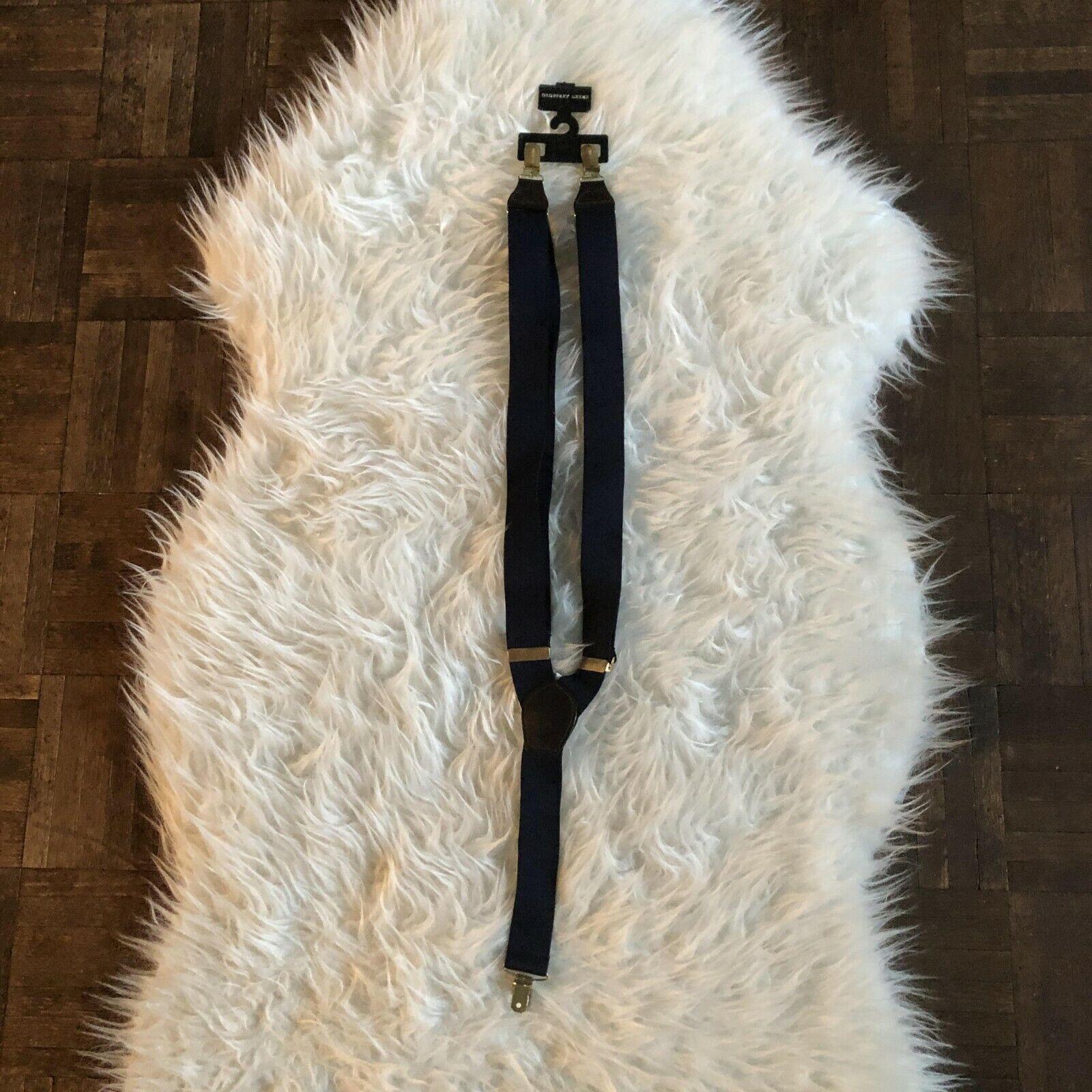 Geoffrey Beene Leather End Suspenders Navy Blue NEW