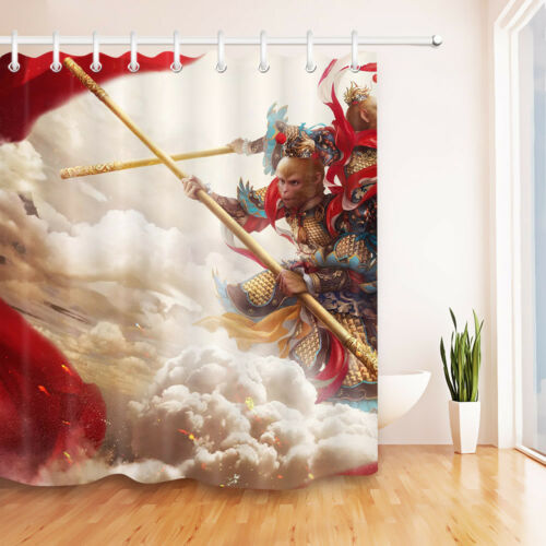 "72X72/"" Anime Monkey Shower Curtain Set Waterproof Fabric Bath Curtains Mat Decor"