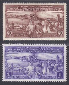 Russie-1949-neuf-sans-charniere-SC-1408-1409-Mi-1399-1400-moutons-bovins-et-FARM-WOMAN