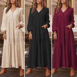 ZANZEA-Womens-Vintage-V-Neck-Long-Sleeve-Kaftan-Casual-Loose-Swing-Long-Dress