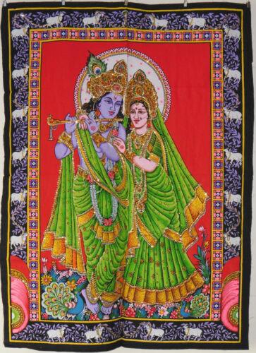 Indien Hindu Gott Radha Krishna Pailletten Wandbehang Fair Trade 80 X 110 CM