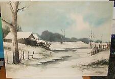 EAD SUKHOTHAI THAILAND ARTIST ORIGINAL SNOW RIVER LANDSCAPE PAINTING DATED 1982