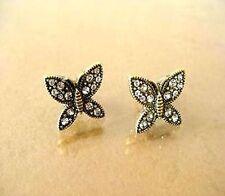 Vintage retro crystal bronze butterfly charm earrings
