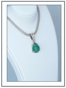 Smaragd-Cabochon-15-ct-verfuehrerisches-Gruen-Anhaenger-Silber-Kolumbien-SALE