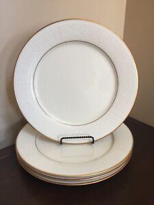 "Vntg china noritake tulane 7562 ivory white scrolls w//gold dinner plate 10 5//8"""