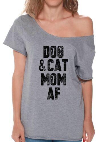 Dog /& Cat Mom AFOff Shoulder Shirts  Dog Lover Gift Cat Lover Cute Black