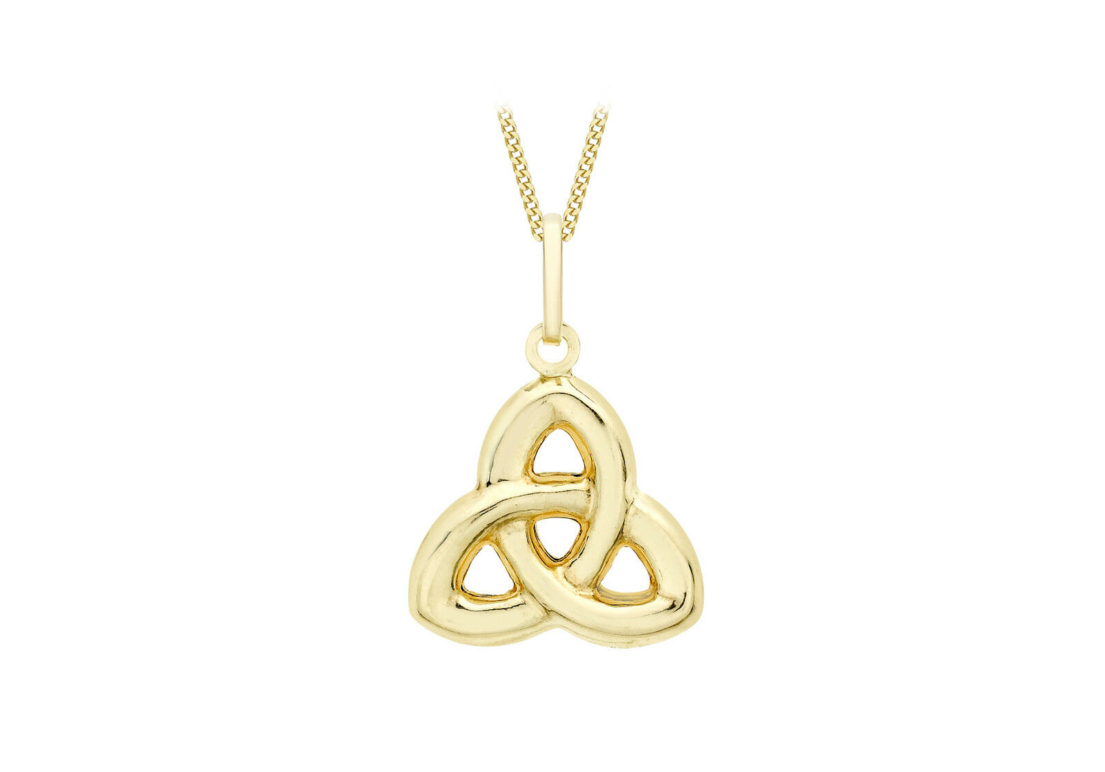 9ct Yellow gold Celtic Knot Pendant on 18  Curb Chain Inc Luxury Gift Box