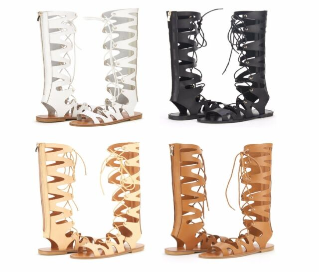 FIERCE Women's Strappy Gladiator Open Toe Lace Up Knee High Flat Sandals