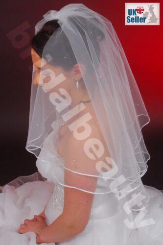 2T Blanco Marfil Codo Velo para Traje de Novia longitud Diamanté Cristales//SS16