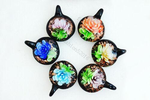 FREE Wholesale 18pcs ronde fleur Lampwork verre Pendentifs À faire soi-même Collier #58