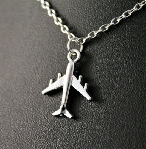 Silver Airplane//Jet Pendant Chain//Necklace w//Free Jewelry Box and Shipping