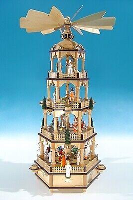 elektr Höhe ca 70 c Große Weihnachtspyramide in Naturholz mit farbigen Figuren