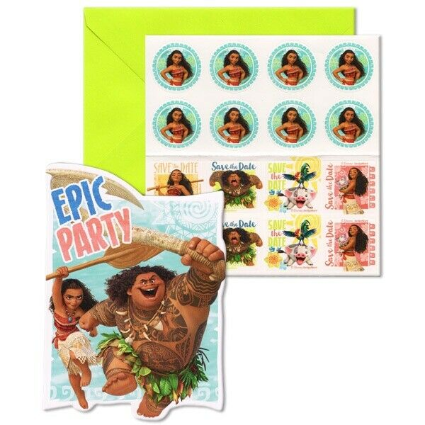 DISNEY MOANA INVITATIONS PACK OF 8 PARTY INVITES