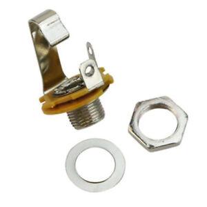 Input-Jack-Socket-6-35mm-1-4-034-Silver-Electric-Guitar-Bass-Audio-Part-5X-FAX