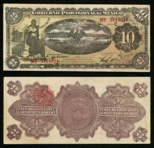 1914-Gobierno-Provisional-De-Mexico-Veracruz-10-Pesos-Banknote-P-S1107a-AU