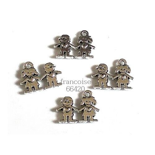 2 ENFANTS 14mm LOT 4 BRELOQUES CHARMS PERLES CREATION BIJOUX BRACELET /_ B206