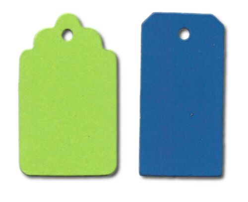 20 Die cut Gift Tag #2 x 2 10 of each assorted colours card making tags crafts